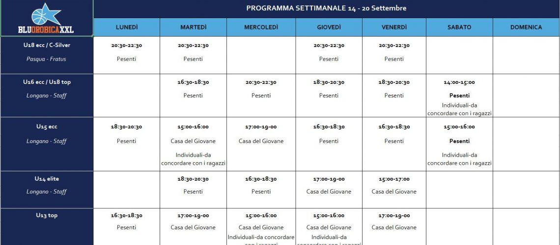 Programma 14-20 Settembre